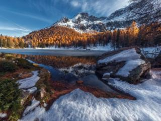 Winter Lake Snowy Mountain Landscape wallpaper