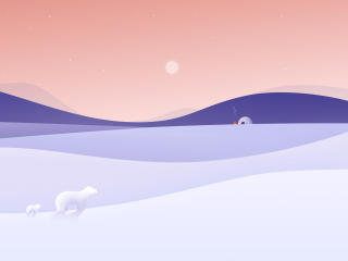 Winter Night Minimalist 4K wallpaper