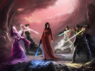 witches, magic, swords wallpaper
