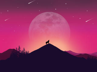 Wolf and Landscape Illustration wallpaper