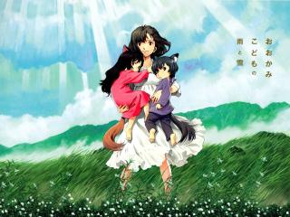 wolf children ame and yuki, anime, girl wallpaper