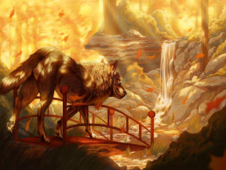 Wolf On The Bridge Near Waterfall Painting wallpaper