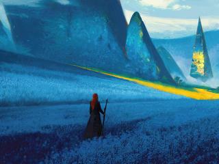 Woman at Fantasy Landscape wallpaper