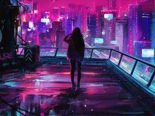 Woman in Cyberpunk City wallpaper