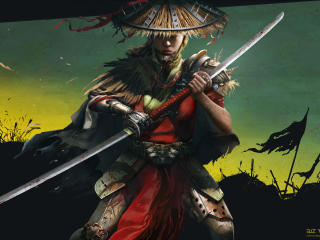 Woman Samurai Warrior with Sword wallpaper