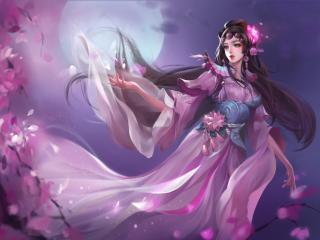 Woman with Sakura Full Moon wallpaper