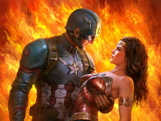 Wonder Woman Met Captain America wallpaper