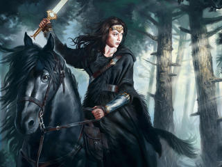 Wonder Woman Riding Horse wallpaper