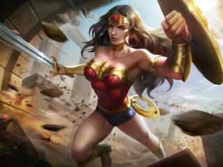 Wonder Woman with Sword and Shield wallpaper