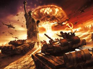 world in conflict, explosion, statue of liberty wallpaper