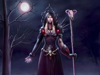 world of warcraft, warlock, moon wallpaper