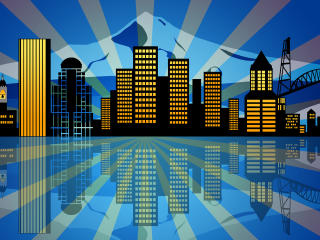 Yellow City Vector Reflection wallpaper