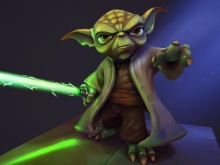Yoda with Lightsaber wallpaper
