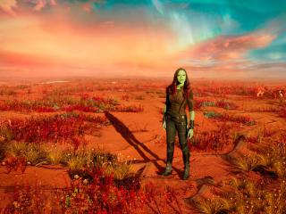 Zoe Saldana As Gamora In Guardians Of Galaxy Vol 2 wallpaper