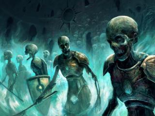 zombies, skeletons, magic wallpaper