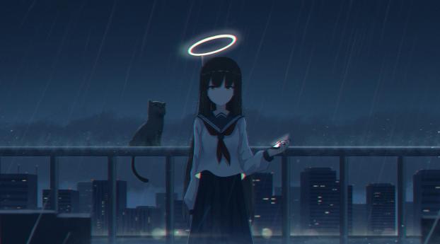 4K Girl in the Rain with Cat Wallpaper, HD Anime 4K ...