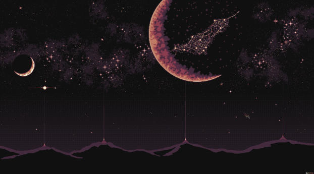 4K Planet Pixel Art Wallpaper