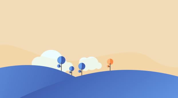 A Blue Sunrise Landscape Wallpaper