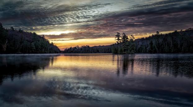 A Calm Lake at Sunset Wallpaper 1280x800 Resolution