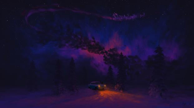 A Dreamy Christmas Night Wallpaper