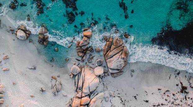 Aerial Beach Rock View Wallpaper 320x568 Resolution