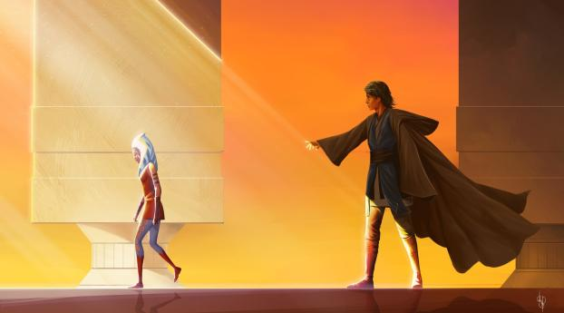 HD Wallpaper | Background Image Ahsoka Tano and Anakin Skywalker Art