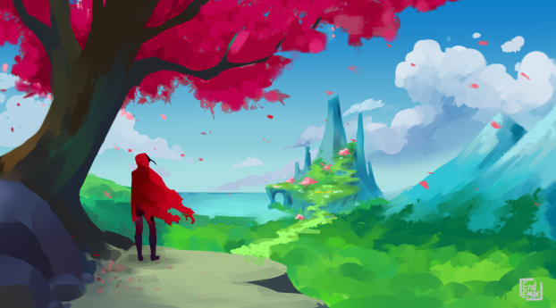 Alone Spring Adventure Digital Art Wallpaper