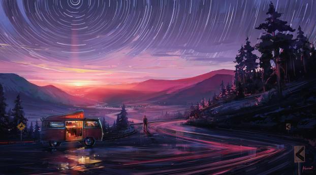 Alone Staring at Star Trail Wallpaper
