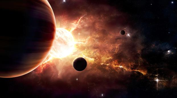 Amazing Planets in Space Wallpaper 1280x800 Resolution