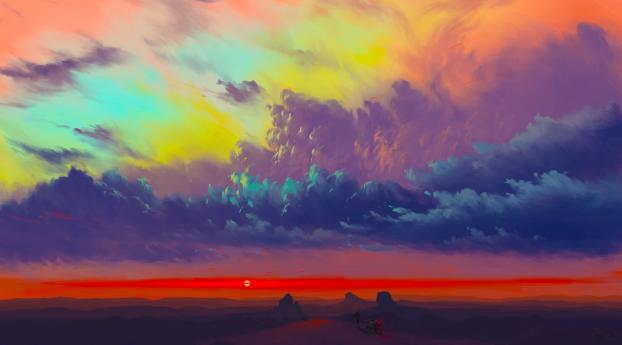 Amazing Sunset Art Wallpaper