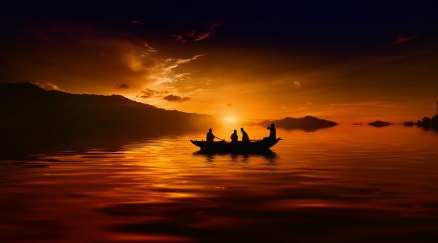 HD Wallpaper | Background Image Amazing Sunset Over Lake 8k