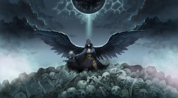 Angel and Skulls Wallpaper 480x854 Resolution