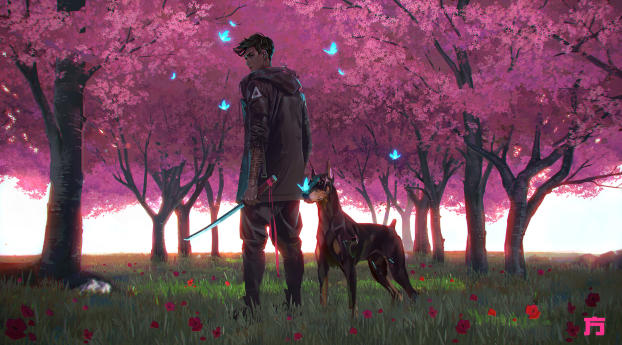 HD Wallpaper | Background Image Anime Boy and Dog
