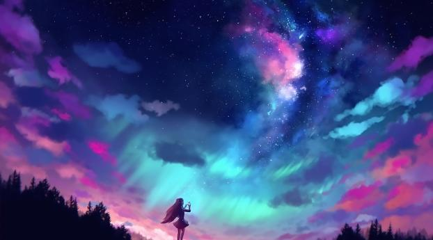 1125x2436 Anime Girl And Colorful Sky Iphone Xs Iphone 10 Iphone X Wallpaper Hd Anime 4k Wallpapers Images Photos And Background