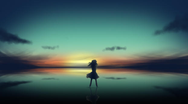 HD Wallpaper | Background Image Anime Girl In Clear Sunset