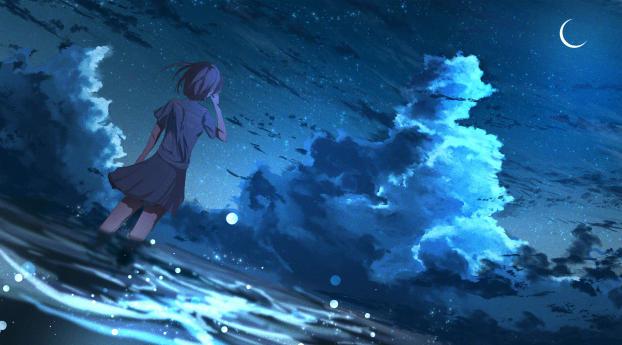 Anime Girl in Half Moon Night 4K Wallpaper