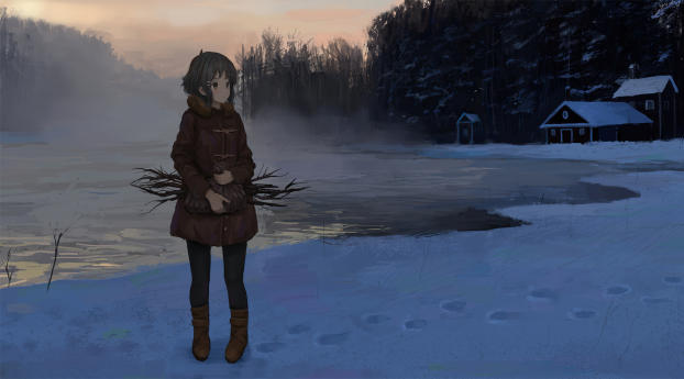 Anime Girl in Winter Wallpaper 2560x1600 Resolution