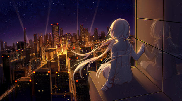 Anime Girl Looking at Stars Wallpaper