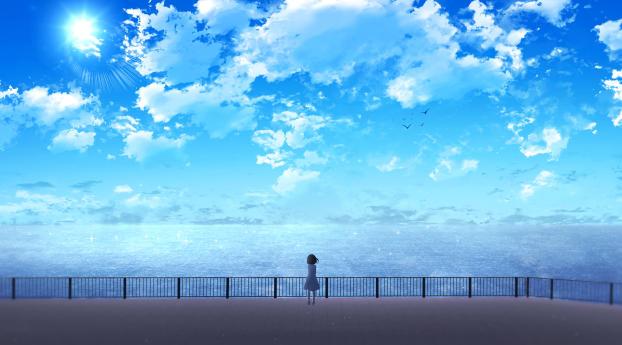 HD Wallpaper | Background Image Anime Girl Near Ocean