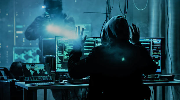 Anonymous Hacker Caught by Police Artistic Wallpaper 800x1280 Resolution