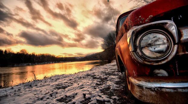 HD Wallpaper | Background Image Antique Car In Sun Set