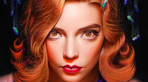 Anya Taylor-Joy The Queen's Gambit Art Wallpaper 1600x900 Resolution