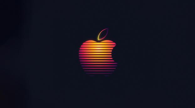 Apple Company Colorful Logo Wallpaper 1360x768 Resolution