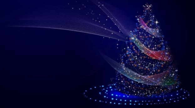 Artistic Blue Christmas Tree Wallpaper
