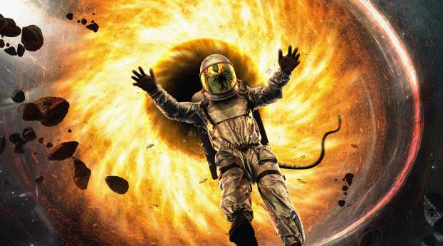 Astronaut Falling in Black Hole Wallpaper 540x960 Resolution