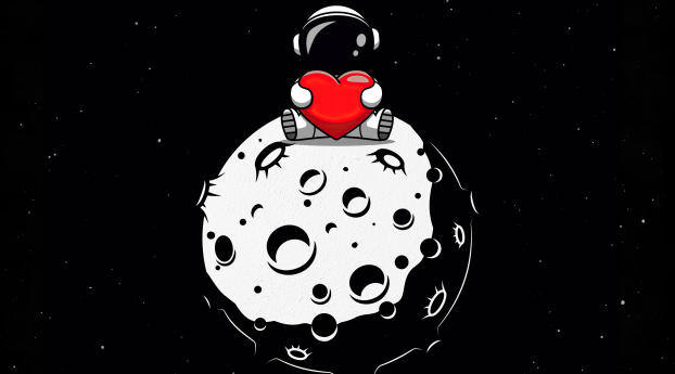 Astronaut with Heart over Moon Wallpaper 5120x2880 Resolution