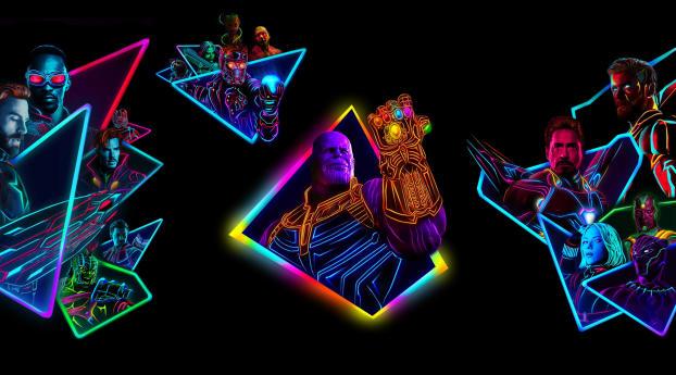 HD Wallpaper | Background Image Avengers Infinity War 80s Neon Style Art