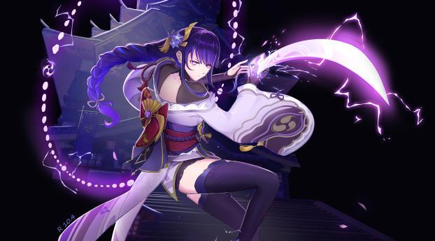 Baal Raiden Shogun Art Genshin Impact Gaming 2021 Wallpaper
