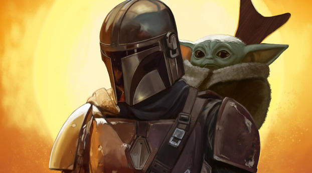 HD Wallpaper | Background Image Baby Yoda and Mandalorian FanArt
