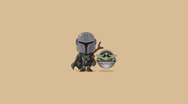 HD Wallpaper | Background Image Baby Yoda and Mandalorian